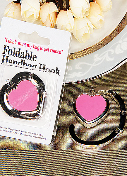 Hot Pink Heart Shaped Purse Hook Favor