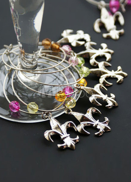 Fleur De Lis Wine Charms Set of 6