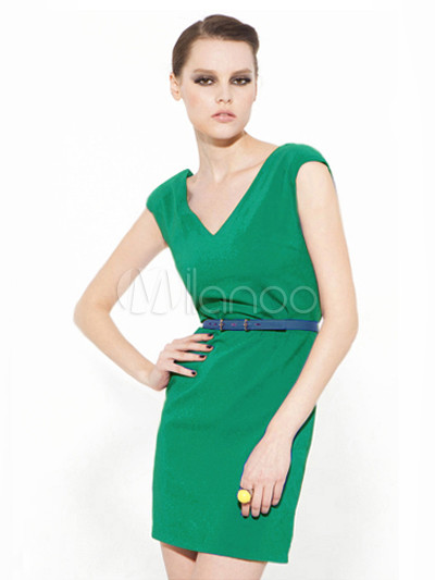Grace Green Polyester Shaping V-Neck Mini Dress