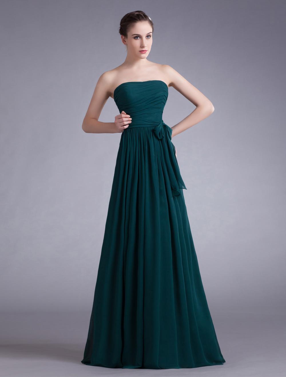 Dark Green Chiffon Strapless Evening Dress (Wedding Evening Dresses) photo