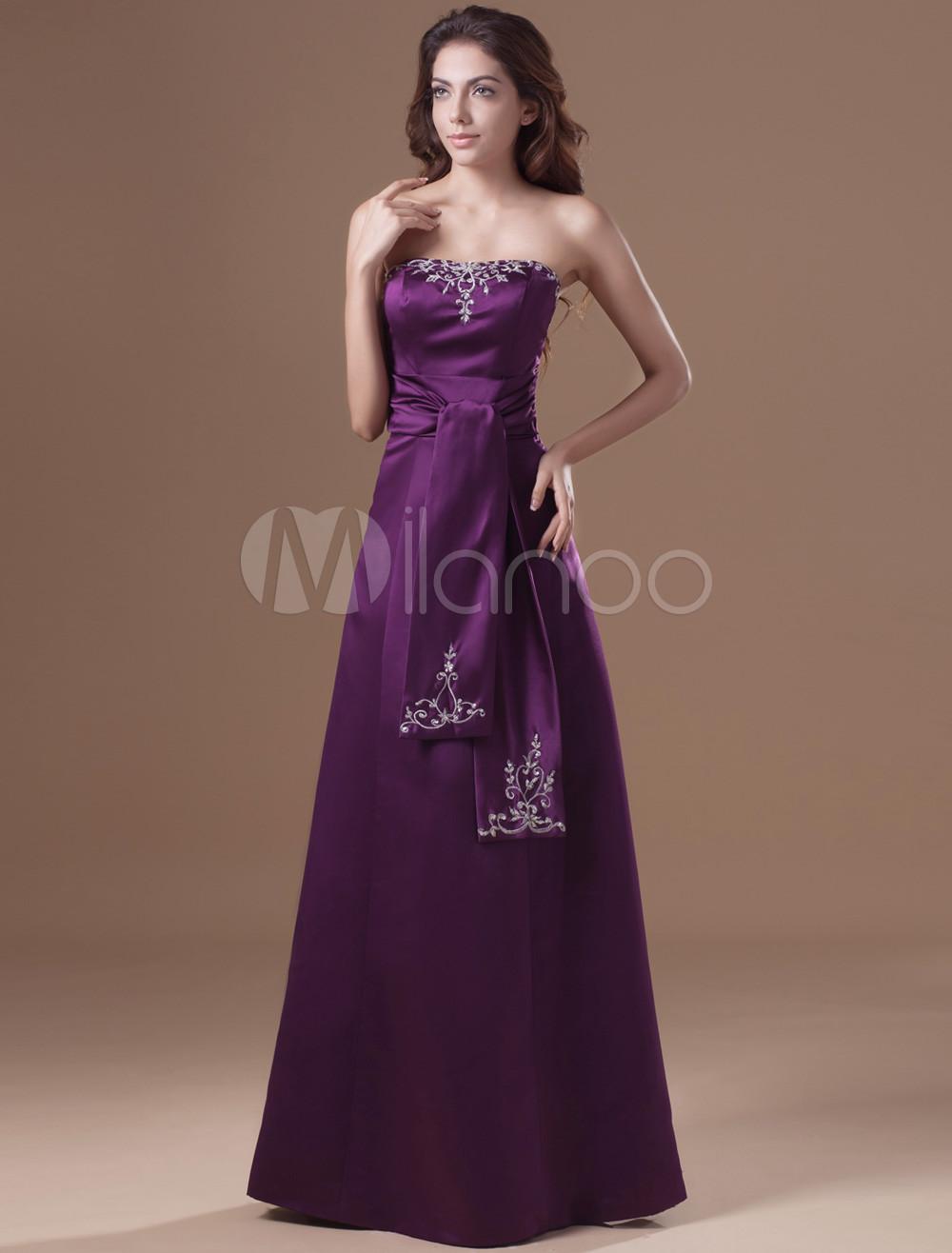 Grace Lilac Satin Lace up Strapless Women's Evening Dress (Wedding Cheap Party Dress) photo