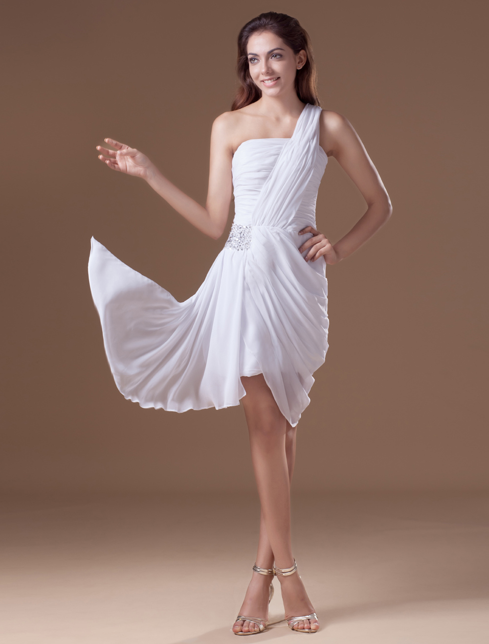 White Sheath Sequin One-Shoulder Chiffon Cocktail Dress (Wedding Cheap Party Dress) photo