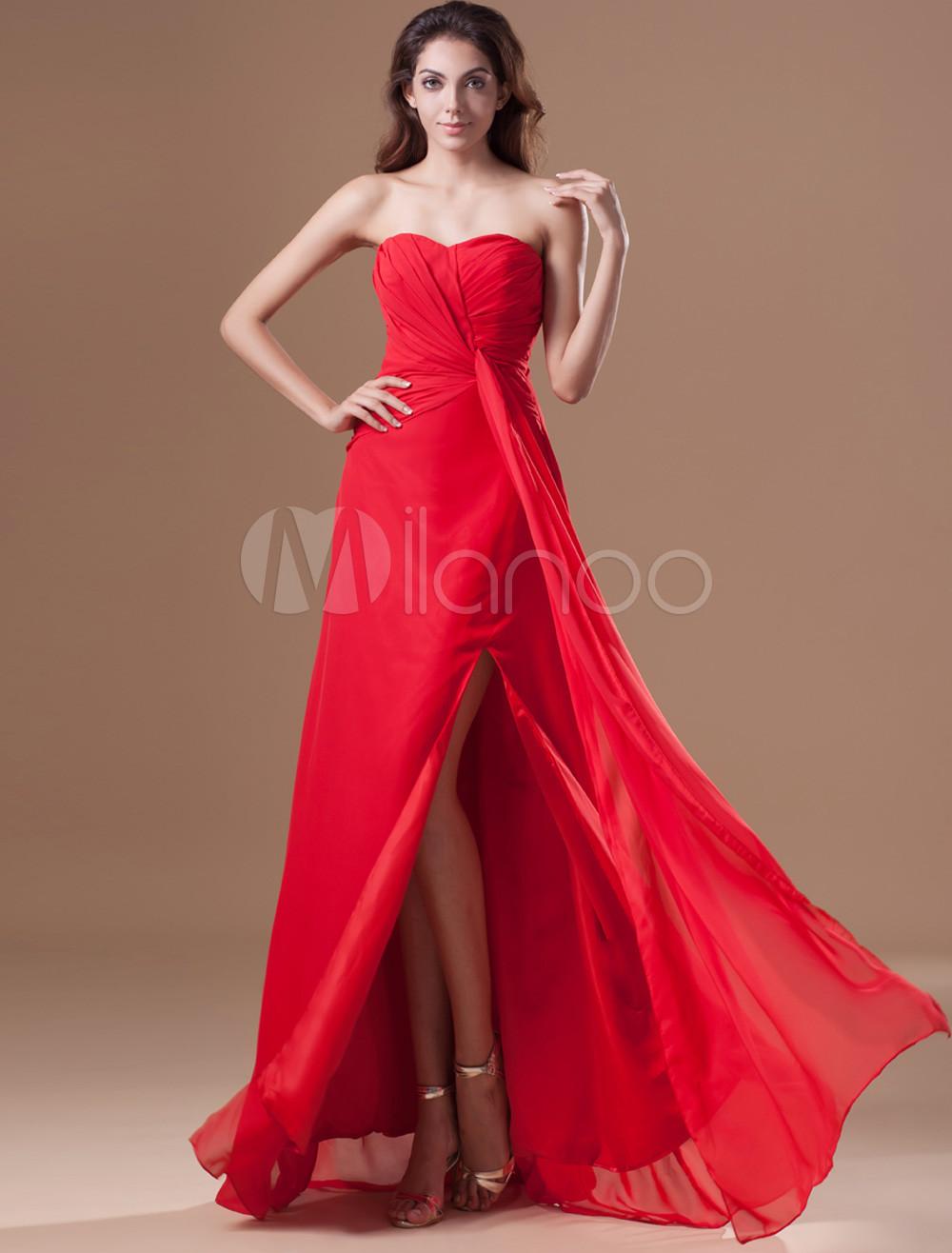 Grace Red Chiffon Side Split Sweetheart Neck Women's Evening Dress (Wedding Evening Dresses) photo