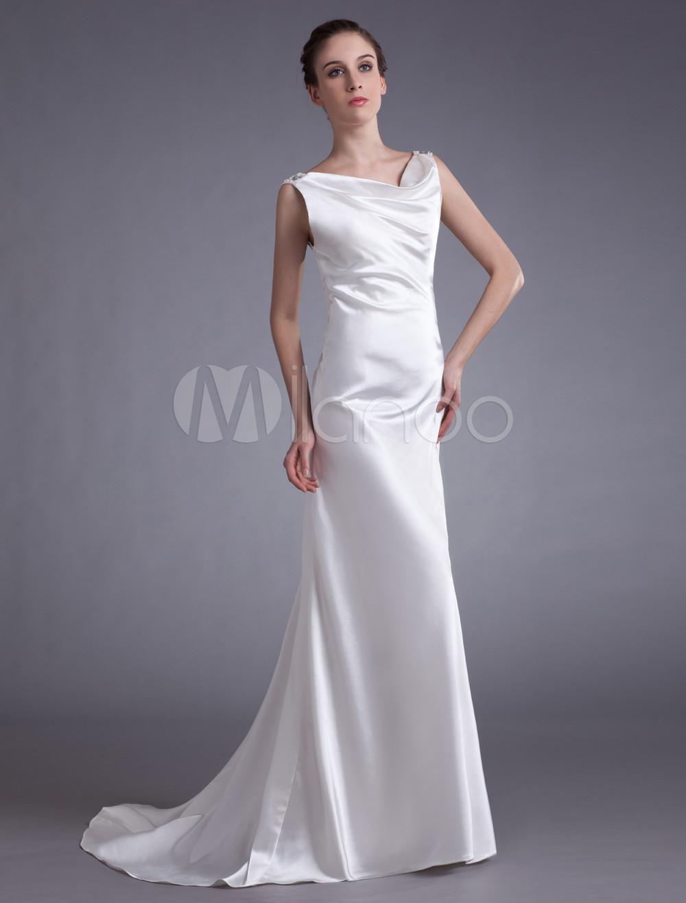 Grace Ivory Elastic Woven Satin Beading Womens Evening Dress (Wedding Evening Dresses) photo