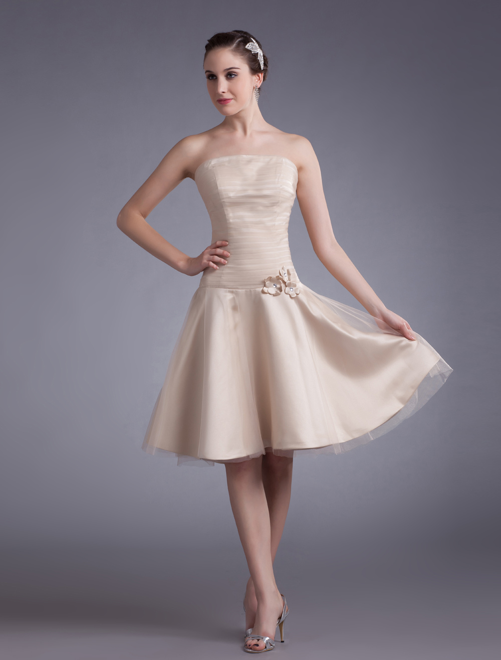 Champagne Cocktail Dress Strapless Knee-Length Applique Flowers Tulle Dress (Wedding Cheap Party Dress) photo