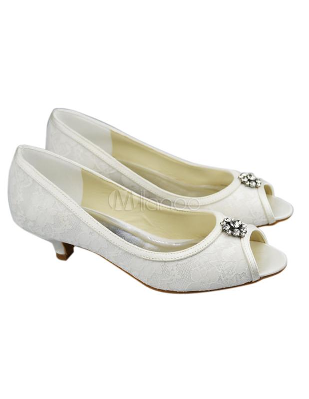 Cute Peep Toe Ivory Lace Kitten Heel Bride&39s Shoes - Milanoo.com