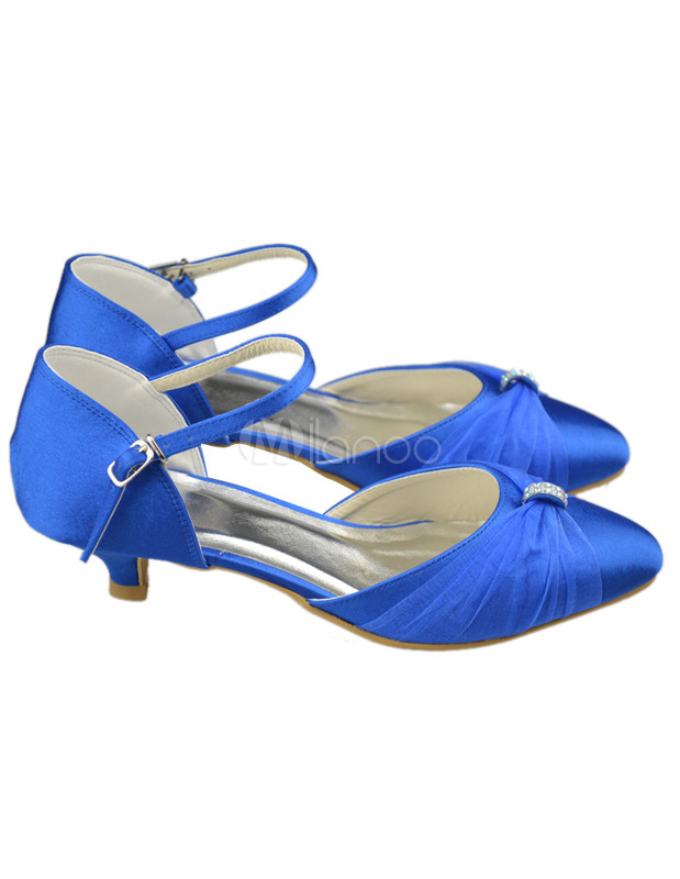 Cute Pointed Toe Blue Satin Kitten Heel Bridal Shoes - Milanoo.com