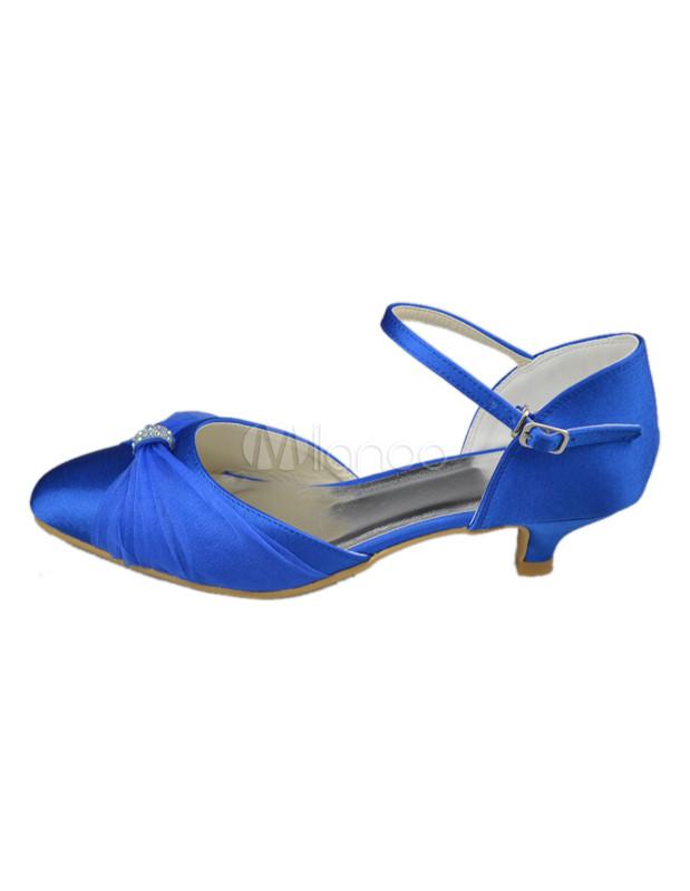 Blaue Brautschuhe mit Kitten Heels und Schnalle - Milanoo.com