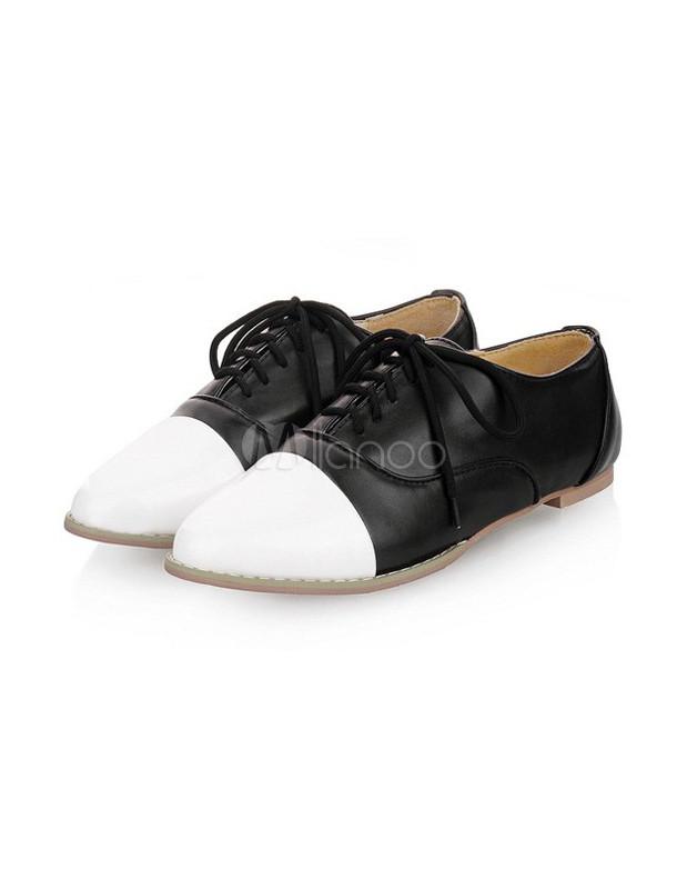 Cute PU Leather Color Blocking Pointed Toe Womenu0026#39;s Oxford Shoes - Milanoo.com