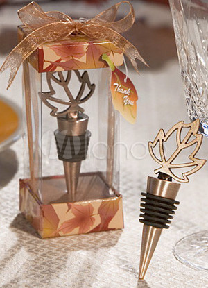 Noble Golden Maple Leaf Alloy Bottle Stopper