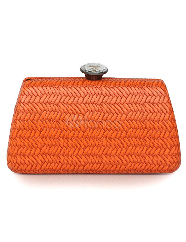 Concise Orange Horizontal Shape Metallic PU Leather Woman's Clutch Bag