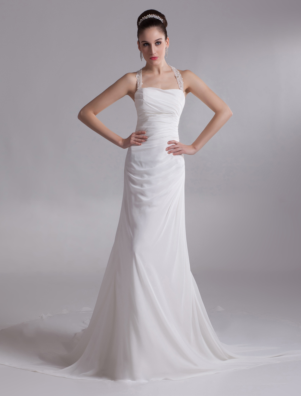 Halter Rhinestone Chiffon Bridal Wedding Dress photo