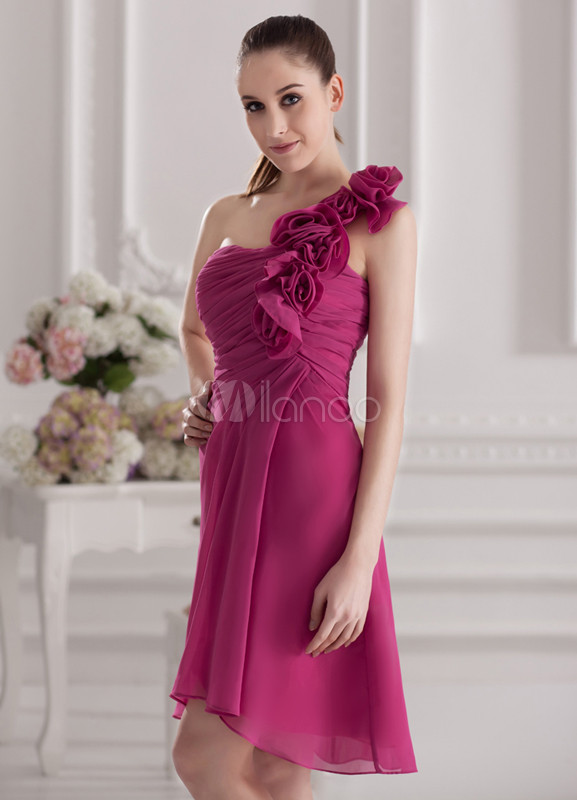 Elegant Fuchsia Chiffon Flower One-Shoulder Asymmetrical Bridesmaid Dress For Wedding
