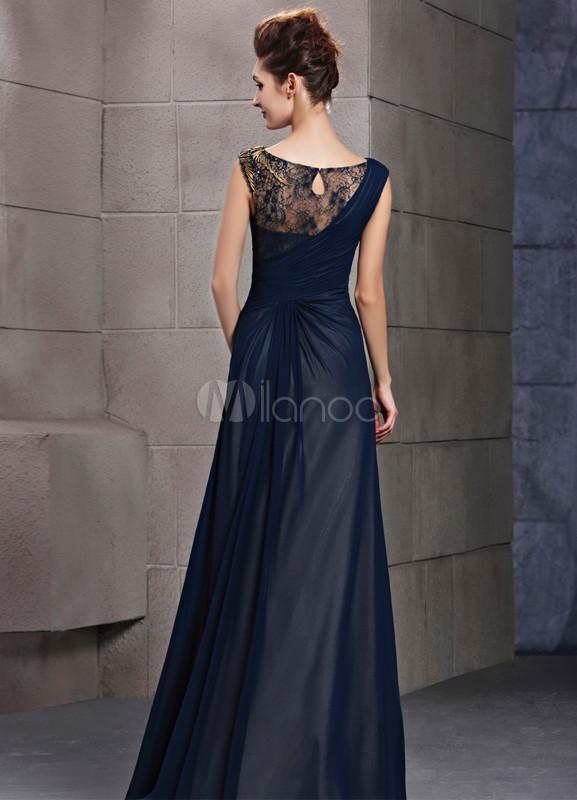 Vestido de noche de azul marino de manga corta de estilo elegante,No.4