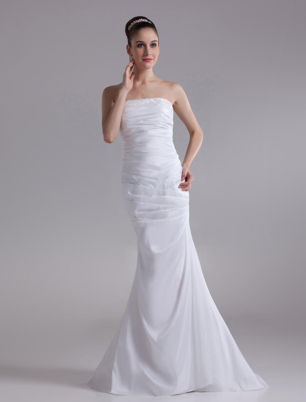 White Mermaid Strapless Beading Taffeta Wedding Dress For Bride photo