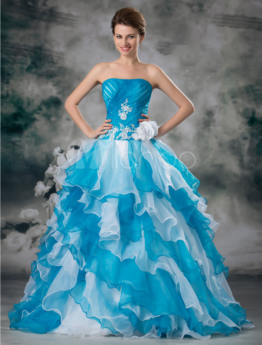 Classic Blue Flower Organza Strapless Ball Gown