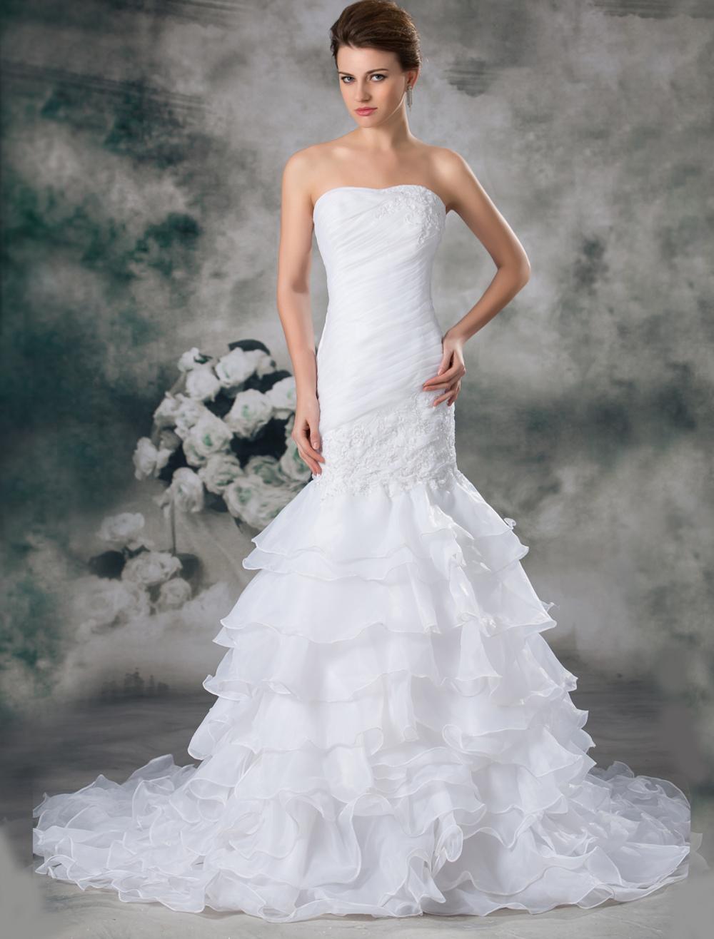White Mermaid Strapless Bride's Wedding Dress photo