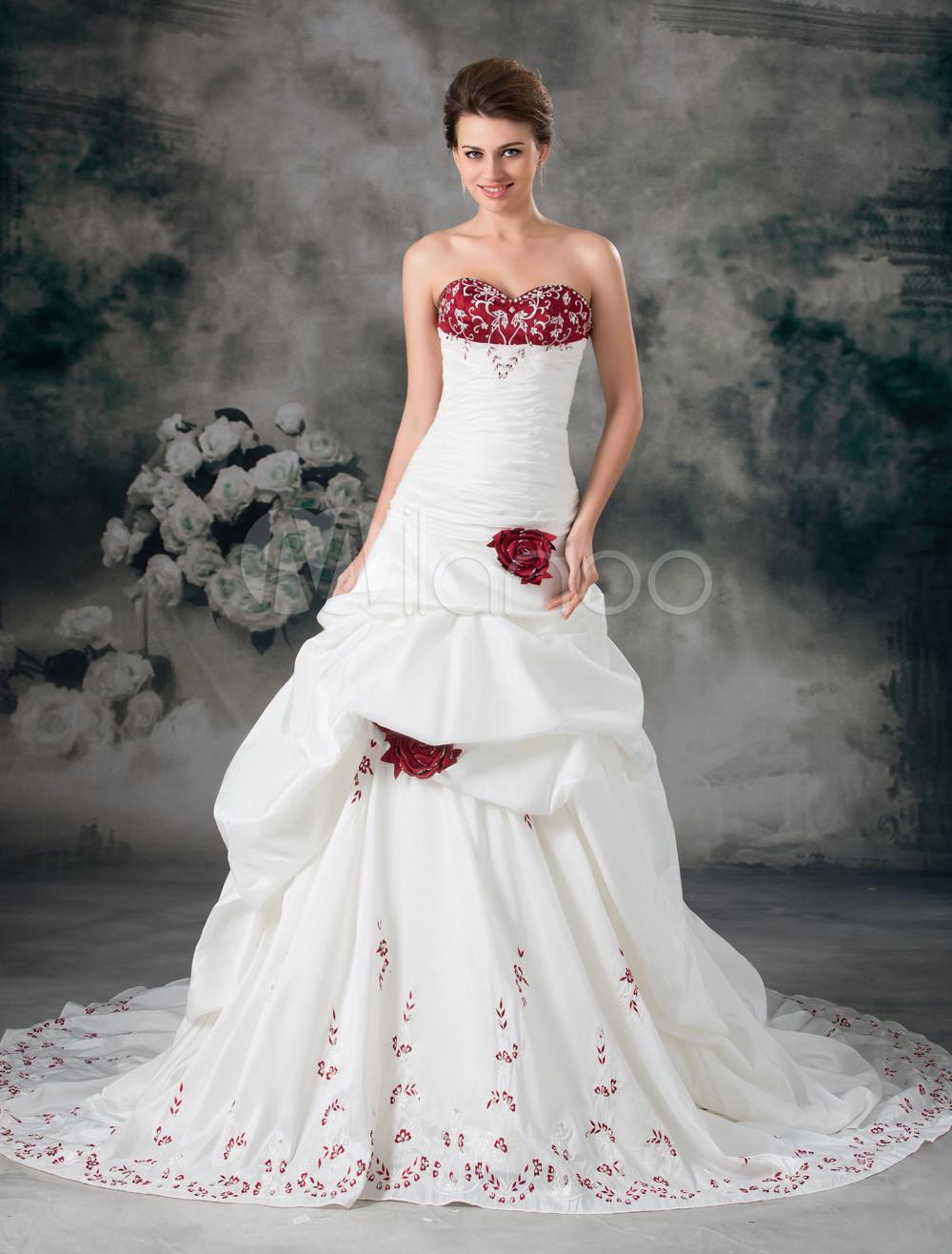 White Ball Gown Sweetheart Neck Embroidered Taffeta Wedding Dress photo