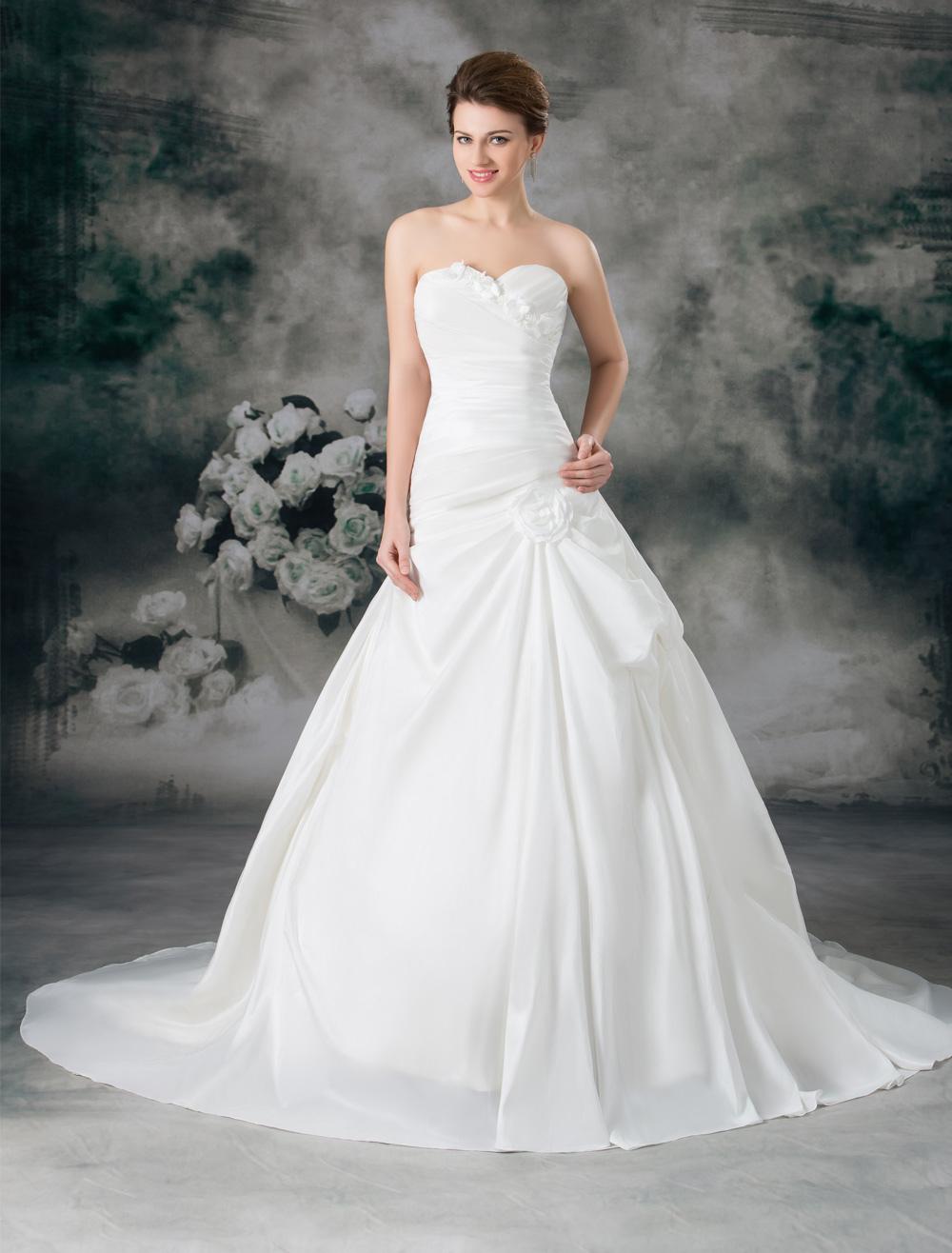 White Ball Gown Sweetheart Neck Flower Taffeta Wedding Dress For Bride photo
