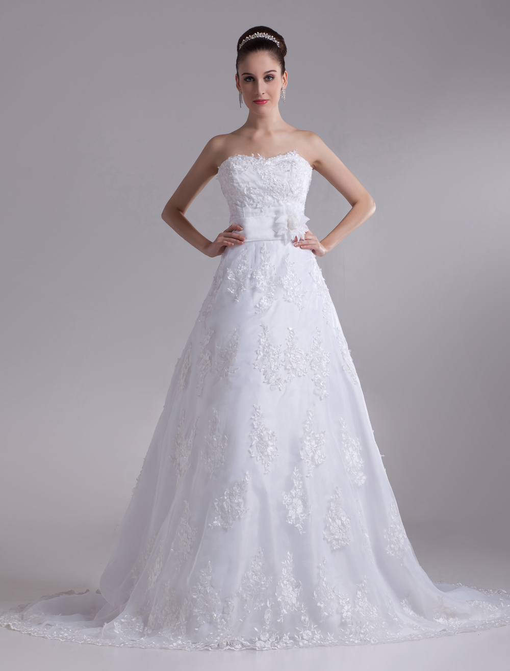 White Brides Wedding Dress with Court Train (Cheap Wedding Dress) photo
