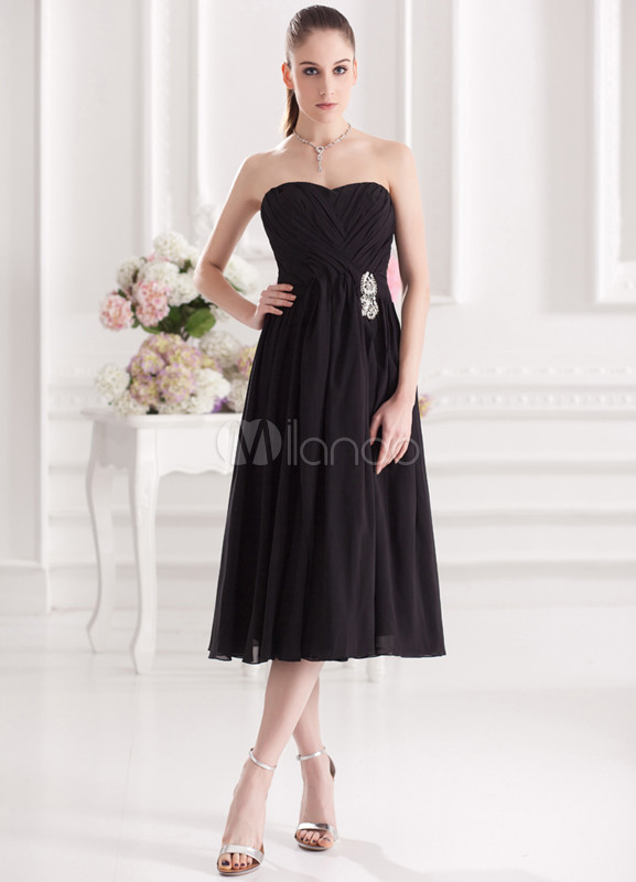 Beautiful Black Chiffon Sweetheart Neck Ankle-Length Wedding Bridesmaid Dress