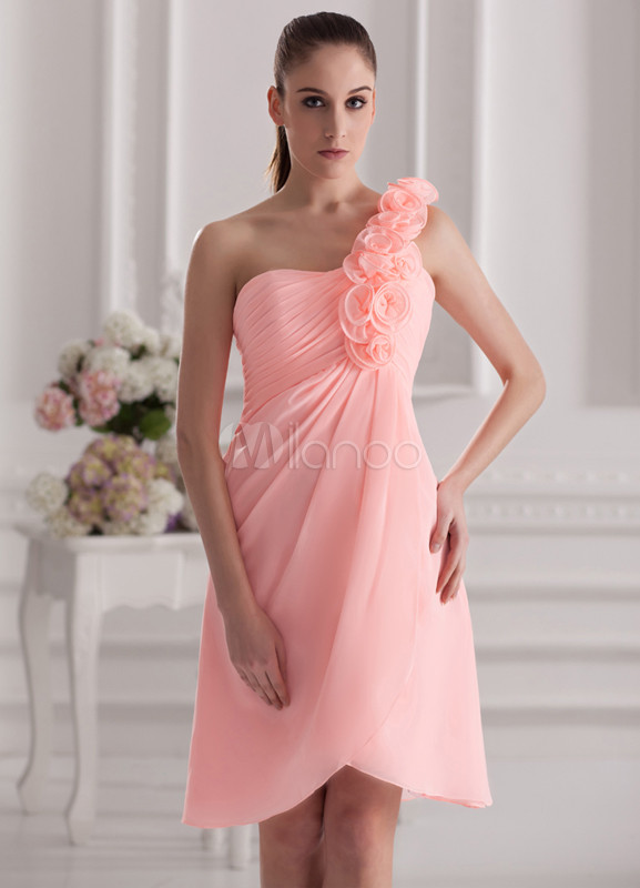 Sweet Pink Chiffon Flower One-Shoulder Asymmetrical Bridesmaid Dress For Wedding
