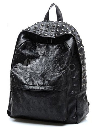 Beautiful Black Vertical Shape Skeleton PU Leather Backpack for Woman