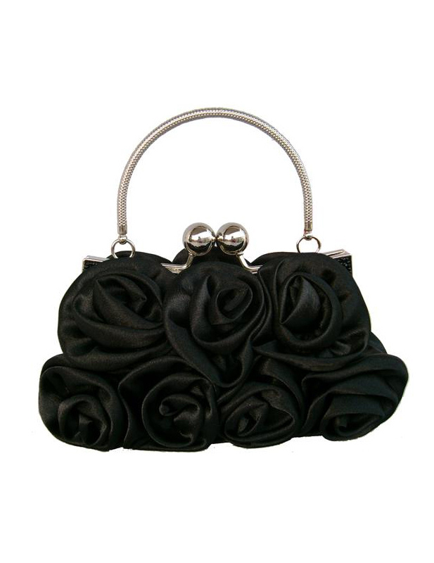 Black Bridal Wedding Handbag Flowers Satin Handbag