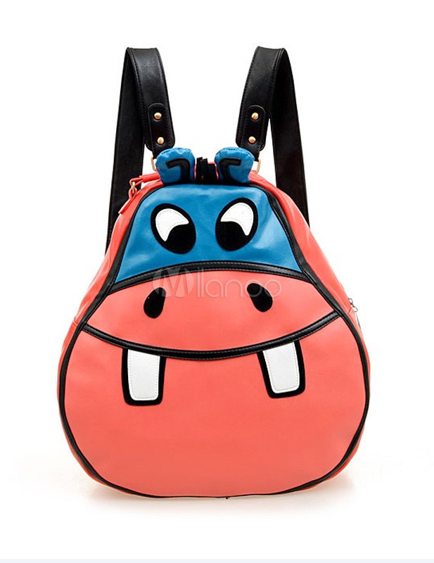Cute Red Cartoon Animal Shape PU Leather Backpack For Women