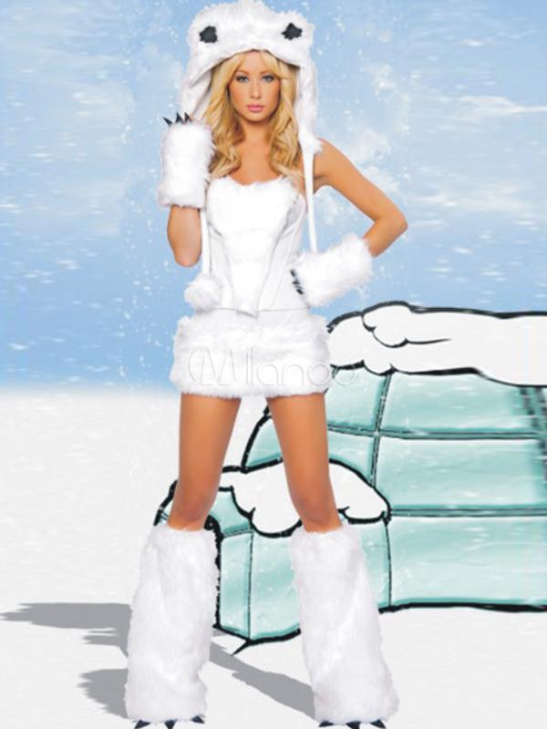 costume s duisant d 39 ours blanc en terry pour femme. Black Bedroom Furniture Sets. Home Design Ideas