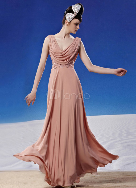 Modern Pink V-Neck Ball Gown Pleated Polyester Ball Gown For Women