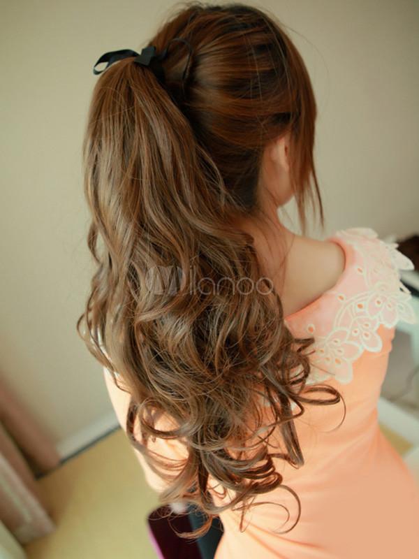 extension de cheveux synth tique pour femme long ch tain boucl. Black Bedroom Furniture Sets. Home Design Ideas