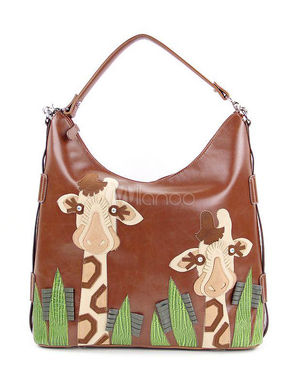 Lovely Brown Giraffe Print PU Leather Woman's Hobo Bag