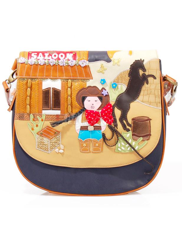 Multi Color Cartoon Cowboy Print Pu Leather Cross Body Bag