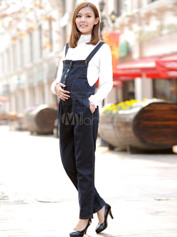 Vintage Deep Blue Denim Maternity Jumpsuit