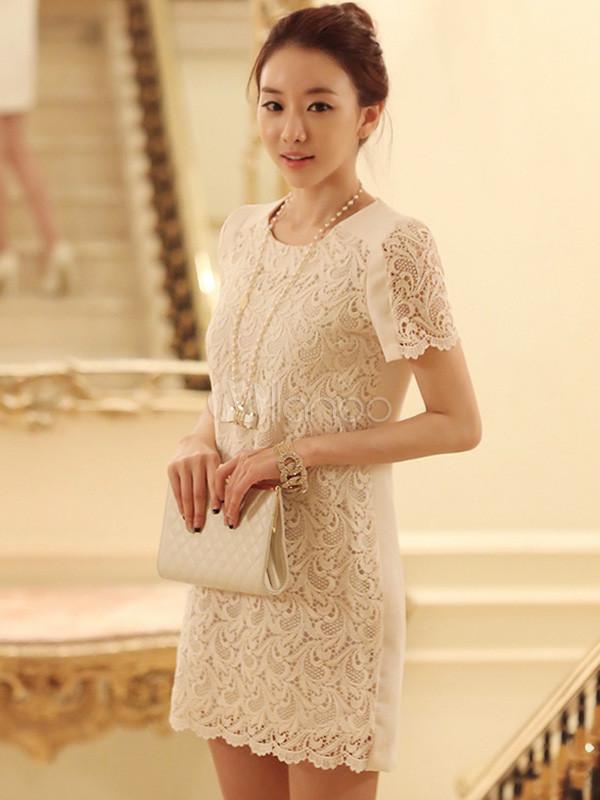 robe blanche dentelle courte droite best dress france. Black Bedroom Furniture Sets. Home Design Ideas