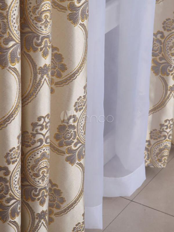 Rideaux noir total polyester jacquard beige - Ou acheter ses rideaux ...