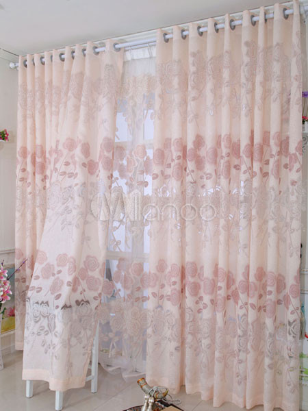 rideaux noir total moderne polyester imprim fleurs romantiques. Black Bedroom Furniture Sets. Home Design Ideas