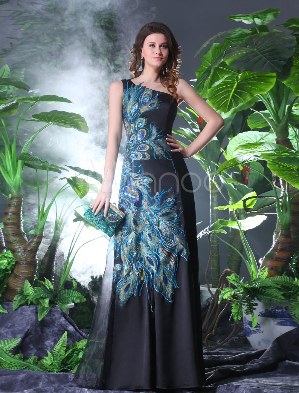 One-Shoulder Peacock Print Evening Dress Wedding Guest Dress Milanoo (Evening Dresses) photo