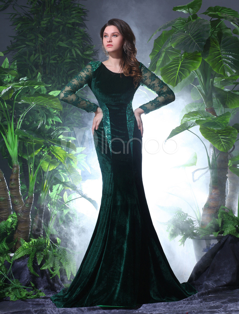Sexy Dark Green Velvet Lace Jewel Neck Shaping Evening