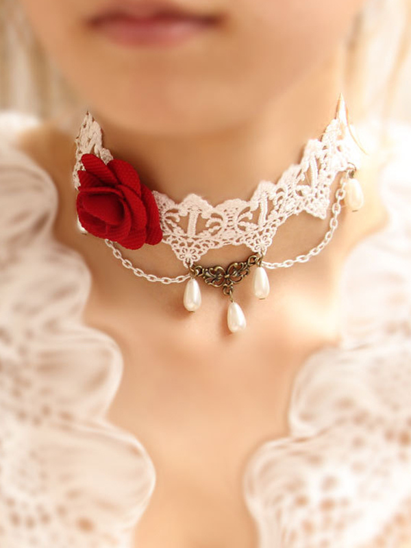Attractive Floral White Cotton Lolita Necklace $18.99 AT vintagedancer.com