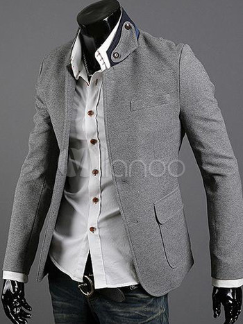 blazer homme en coton gris clair avec poches devant sur la plus basse. Black Bedroom Furniture Sets. Home Design Ideas