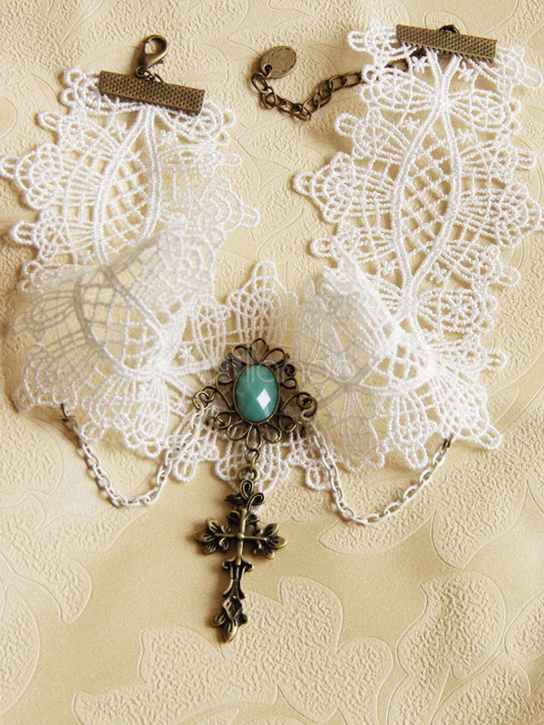 White Cross Cotton Lolita Necklace $18.99 AT vintagedancer.com