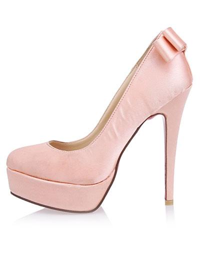 modische high heels aus satin mit schleife und platform in rosa. Black Bedroom Furniture Sets. Home Design Ideas