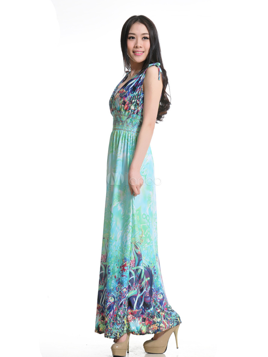 Casual Light Sky Blue Floral Print Spandex V-Neck Women's Maxi ...