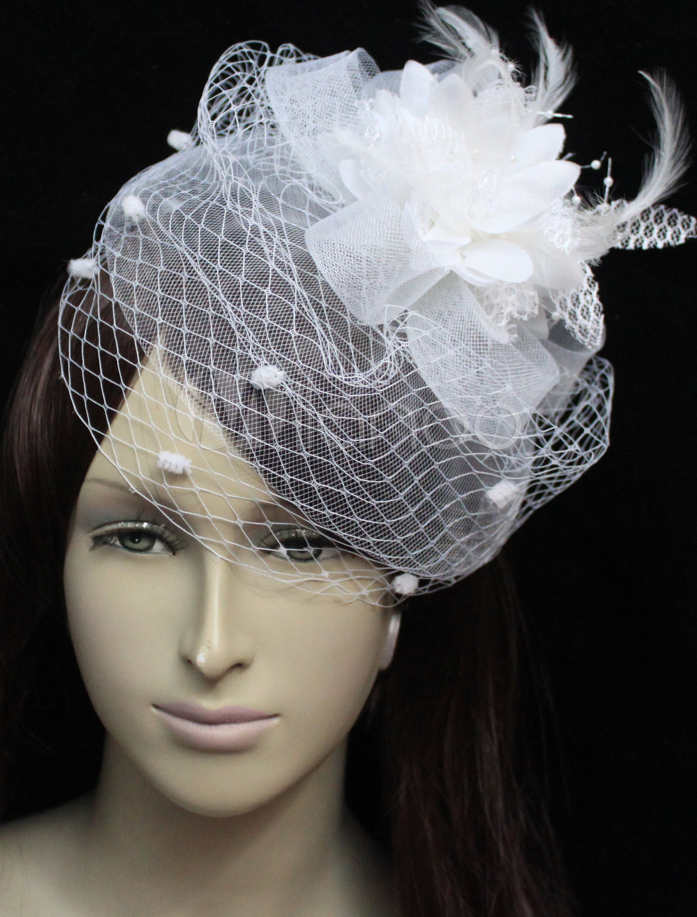 Romantic White Tulle Pearl Decorated Lotus Flower Gauze Wedding Fascinators For Bridal