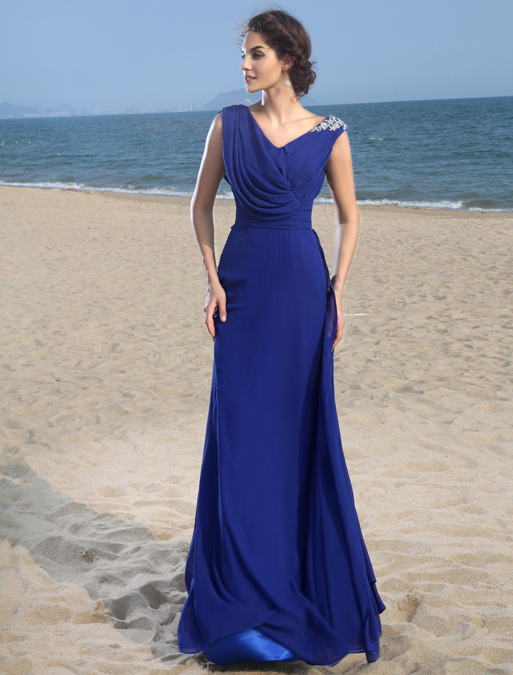 Off-The-Shoulder Royal Blue Chiffon Prom Dress (Wedding Prom Dresses) photo