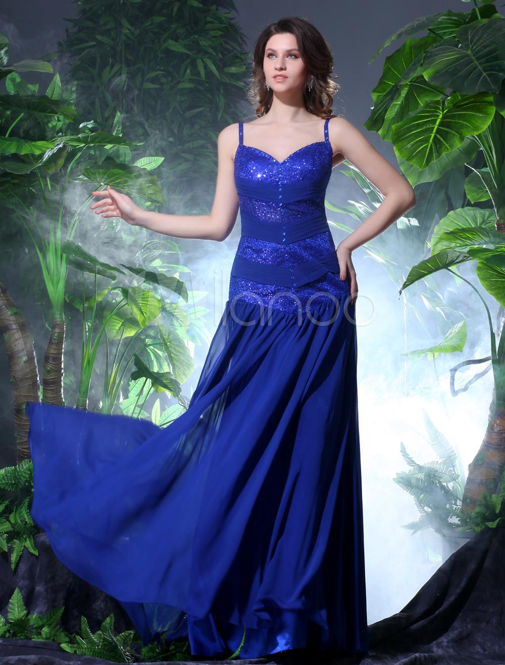 Sheath Royal Blue Straps Neck Sequin Chiffon Prom Dress Milanoo (Wedding Prom Dresses) photo