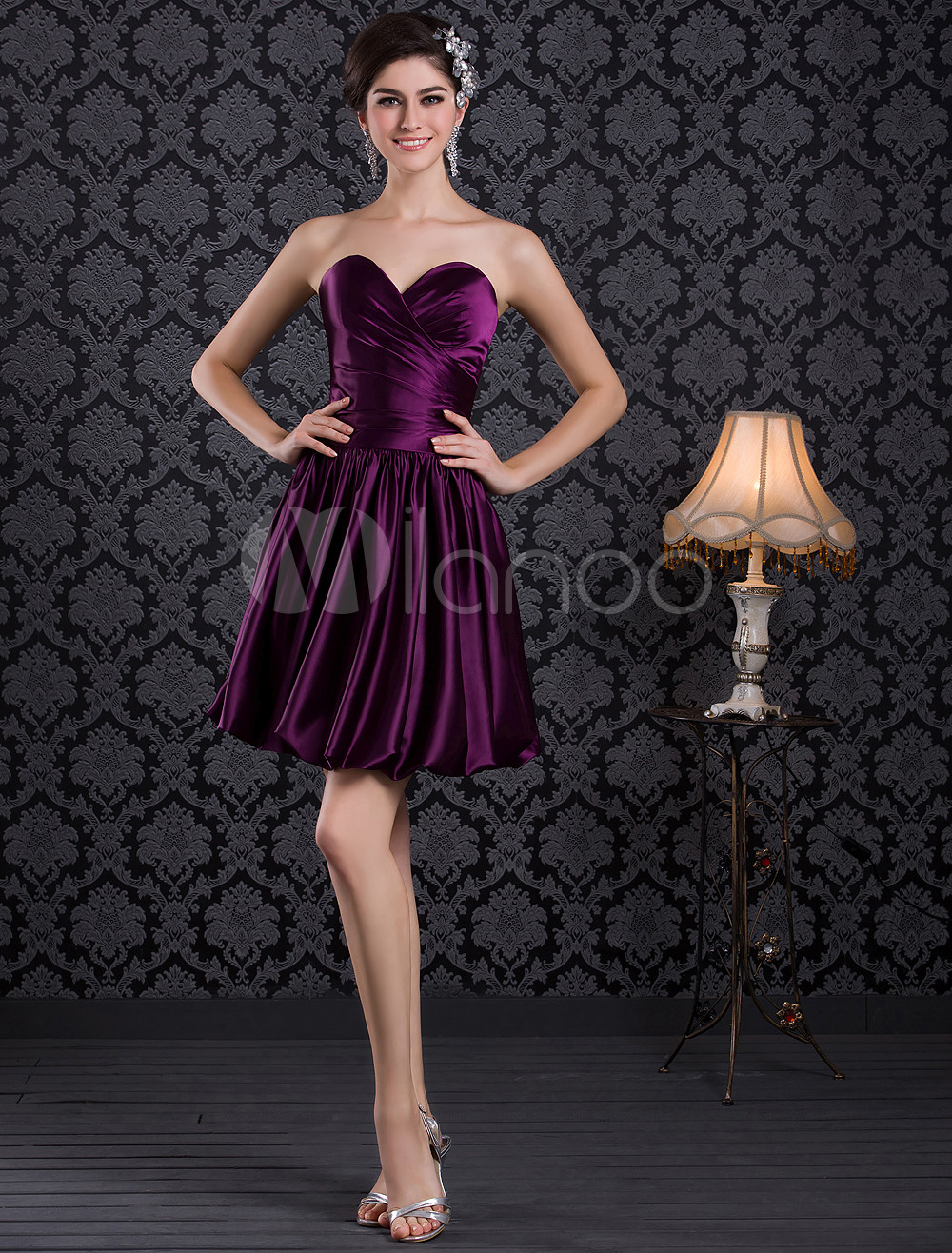 Beautiful A-line Grape Elastic Woven Satin Draped Sweetheart Neck Short Wedding Bridesmaid Dress