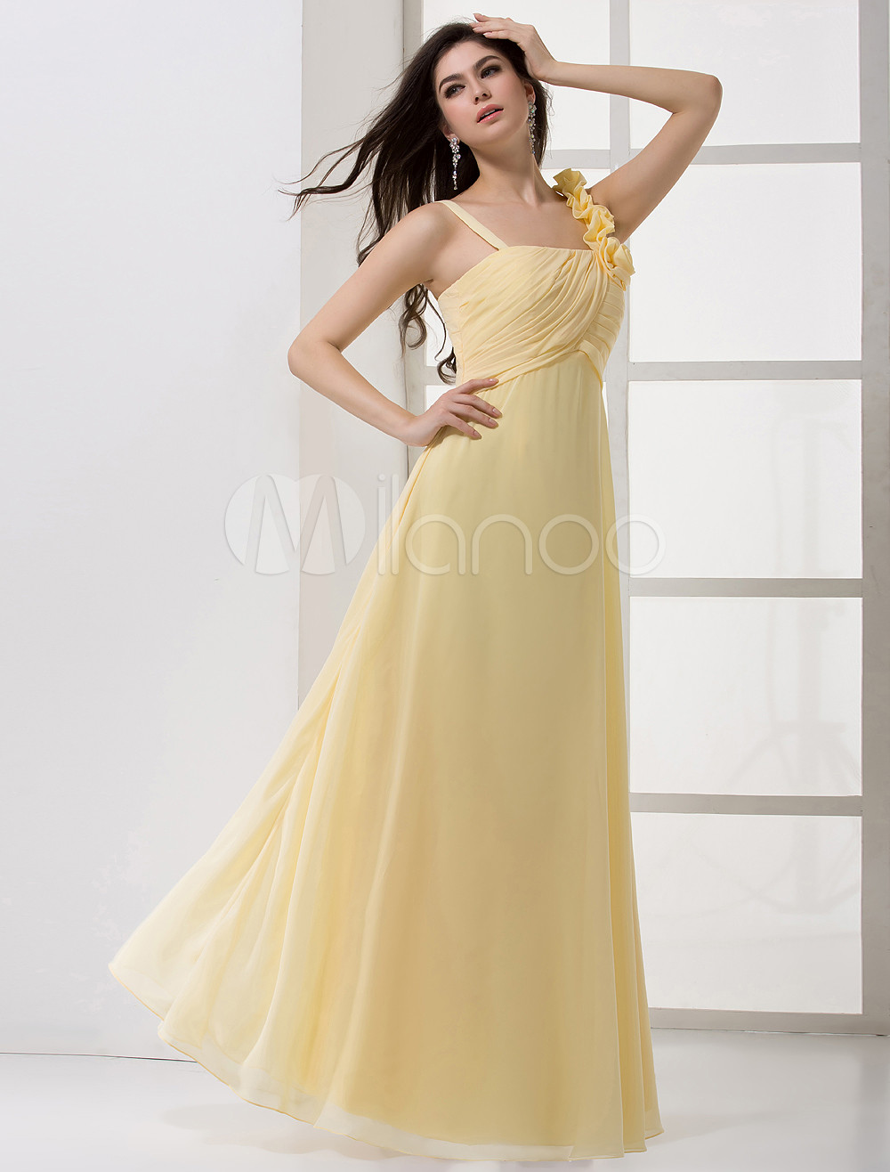 Charming Chiffon Cascading Ruffle Spaghetti Straps Floor-Length Wedding Bridesmaid Dress